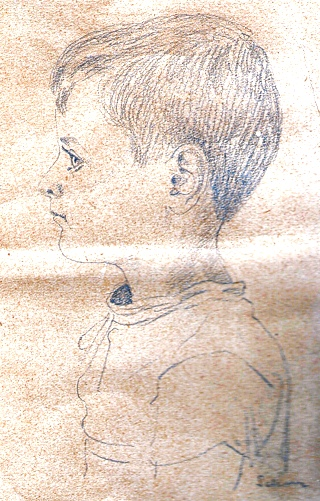 Author at about 9, drawing by Ondrej Sekora