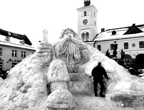 Snow sculpture of Krakonoš, the Spirit of the Giant Mountains, annually made on the town square at Jilemnice.